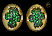 Mousson Atelier Caramel Collection Gold Tsavorite & Diamond Earrings E0034-2/10