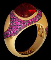 Mousson Atelier Caramel Tourmaline & Sapphire Ring R0034-0/3