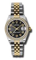 Rolex Datejust 31mm Steel & YG 46 Dia Bezel Jubilee 17838BKCAJ