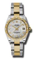 Rolex Datejust 31mm Steel & YG 24 Dia Bezel Oyster 178343MDO