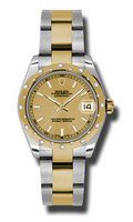 Rolex Datejust 31mm Steel & YG 24 Dia Bezel Oyster 178343CHIO