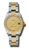 Rolex Datejust 31mm Steel & Gold 24 Dia Bezel Oyster 178343CHFO