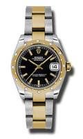 Rolex Datejust 31mm Steel & YG 24 Dia Bezel Oyster 178343BKIO
