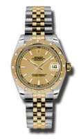 Rolex Datejust 31mm Steel & YG 24 Dia Bezel Jubilee 178343CHIJ