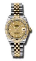 Rolex Datejust 31mm Steel & YG 12 Dia Bezel Jubilee 178313CHIJ