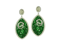 Green Jade & 2.42 ct Diamond Marquise Earring