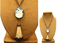 Cameo, Pearl & 3.13 ct Diamond Tassel Necklace