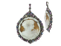 Cameo, Multi Color Sapphire & 1.48 ct Diamond Pendant