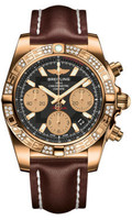 Breitling Chronomat 41 RG Dia Bezel LeatherDeployant HB0140AA/BA53