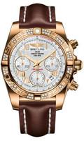 Breitling Chronomat 41 RG Dia Bezel LeatherDeployant HB0140AA/A748
