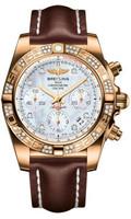 Breitling Chronomat 41 RG Dia Bezel LeatherDeployant HB0140AA/A723