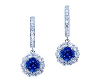1.43 Cttw Round Sapphire & Diamond Dangle Earrings 18k Gold