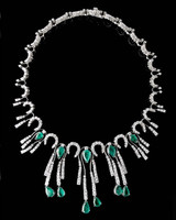 Gayubo 18K WG Emerald & Diamond Fringe Necklace 9596/E