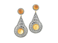 Citrine Stone & 4.80 ct Drop-Shaped Diamond Earring