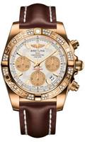 Breitling Chronomat 41 RG Dia Bezel LeatherDeployant HB0140AA/G713