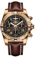 Breitling Chronomat 41 RG Dia Bezel LeatherDeployant HB0140AA/BC08
