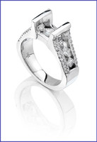 Gregorio 18K White Diamond Engagement Ring R-1366