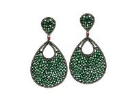 Emerald, Ruby & 2.06 ct Diamond Pear-Shaped Earring