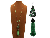 Emerald & 3.28 Diamond Tassel Necklace