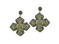 Emerald & 20.60 ct Diamond Flower-Shaped Earring