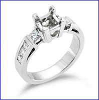 Gregorio 18K White Diamond Engagement Ring R-164