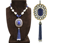 Cultured Pearl, Tanzanite, Buddha Lapiz & 18.14 ct Diamond Tassel Necklace