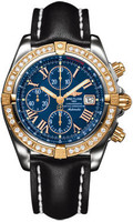 Breitling Chronomat Steel & RG Diamonds LeatherBlack Tang C1335653/C710