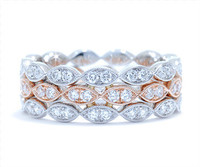 0.76 cttw Diamond Ring In 18k White & Rose Gold
