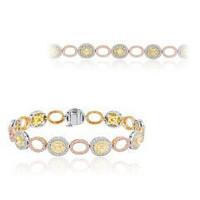 6.29 Ct Tri-color Fancy Diamond Bracelet