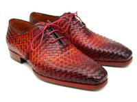 Paul Parkman Bordeaux & Tobacco Woven Leather Oxfords (ID54HK42)