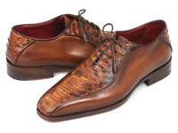 Paul Parkman Brown Genuine Python & Calfskin Bicycle Toe Oxfords (ID94DE14)