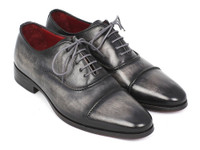 Paul Parkman Captoe Oxfords Gray & Black Hand Painted Shoes (ID077-GRY)