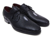 Paul Parkman Full Genuine Black Stingray Goodyear Welted Derby Shoes For Men (ID84U47)