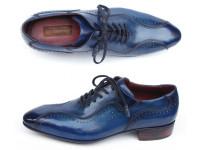 Paul Parkman Handmade Lace-Up Casual Shoes For Men Blue (ID84654-BLU)