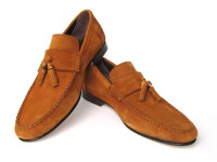 Paul Parkman Men's Bamboo Tassel Loafer Tobacco Suede (ID5407)