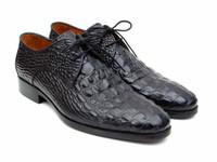 Paul Parkman Men's Black Crocodile Embossed Calfskin Derby Shoes (ID1438BLK)