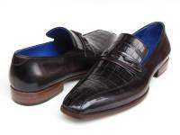 Paul Parkman Men's Black Genuine Crocodile & Purple Calfskin Loafers (ID084-BLKPURP)
