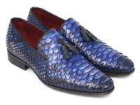 Paul Parkman Men's Blue Genuine Python Tassel Loafers (ID26BLU98)