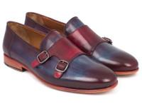 Paul Parkman Men's Bordeaux & Navy Double Monkstrap Shoes (IDHR65CX)
