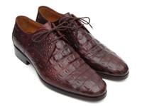 Paul Parkman Men's Brown & Bordeaux Crocodile Embossed Calfskin Derby Shoes (ID1438BRD)