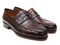 Paul Parkman Men's Brown Genuine Crocodile Penny Loafers (IDPN49LF)