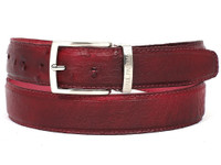 PAUL PARKMAN Men's Burgundy Genuine Ostrich Belt (IDB04-BUR)