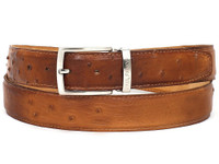 PAUL PARKMAN Men's Camel Genuine Ostrich Belt (IDB04-CML)