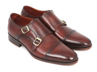 Paul Parkman Men's Cap-Toe Double Monkstraps Brown (ID0457-BRW)