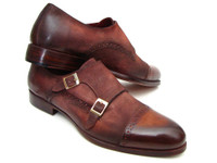 Paul Parkman Men's Captoe Double Monkstrap Antique Brown Suede (ID045BT11)