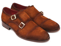 Paul Parkman Men's Captoe Double Monkstrap Camel Suede (ID045TAB12)