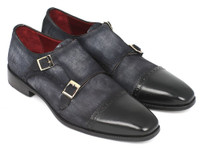 Paul Parkman Men's Captoe Double Monkstraps Navy Suede (IDFK77W)