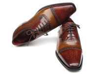 Paul Parkman Men's Captoe Oxfords Camel/Red Hand-Painted Leather Upper & Leather Sole (ID024-CML-BRD)