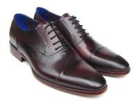 Paul Parkman Men's Captoe Oxfords Black Purple Shoes (ID074-PURP-BLK)