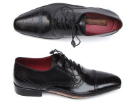 Paul Parkman Men's Captoe Oxfords Black Shoes (ID5032-BLK)
